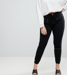 Read more about Asos curve sculpt me high waisted premium jeans in coated black with biker styling - black