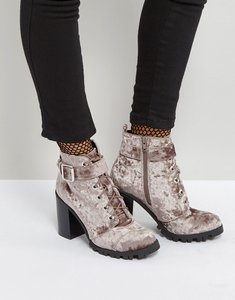 Read more about Qupid heel velvet hiker boot - grey crushed velvet