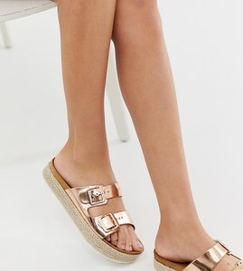 Read more about New look flatform espadrille flat sandal in gold