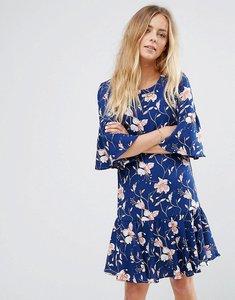 Read more about Vila floral print flute sleeve dress - blue