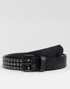 Read more about Asos slim belt in black faux leather and stud detail - black