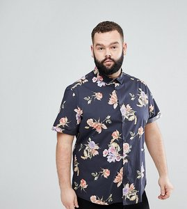 Read more about Asos plus stretch slim floral print shirt in black - black