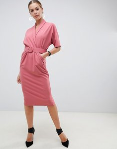 Read more about Asos design belted midi tux dress - dusky rose