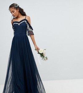 Read more about Maya tall cold shoulder sequin detail tulle maxi dress with ruffle detail - navy