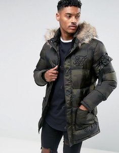 Read more about Siksilk puffer parka in camo with faux fur hood - camo