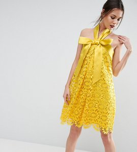 Read more about Asos tall salon aline lace mini dress with bow detail - yellow