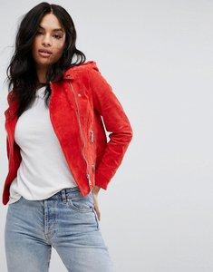 Read more about Vero moda suede biker jacket - red