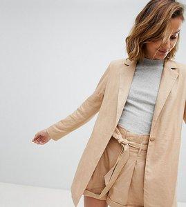 Read more about Unique 21 longline linen blazer co-ord - tan