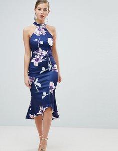 Read more about Ax paris pephem midi dress in floral print - navy