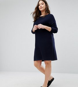 Read more about Asos curve jumper dress in ripple stitch - navy