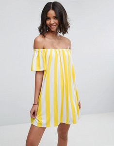 Read more about Asos off shoulder sundress deckchair stripe - yellow white stripe
