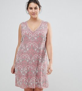 Read more about Lovedrobe luxe embellished v neck shift dress - pink