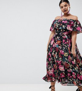 Read more about Asos design curve bardot midi dress in floral print - floral