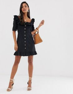 Read more about Asos design square neck mini dress with button through and pephem