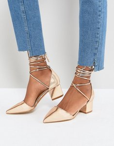 Read more about Raid lucky rose gold ankle tie block heeled shoes - rose gold