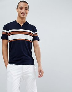 Read more about Kiomi knitted polo shirt with vintage stripe - navy