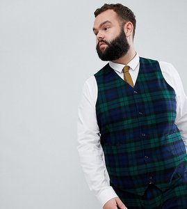 Read more about Asos design plus wedding super skinny suit waistcoat in blackwatch tartan check - green