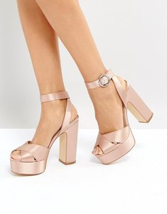 Read more about Office harley satin platform sandals - pink