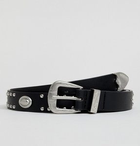 Read more about Asos design vegan faux leather slim belt in black with western buckle and studding - black