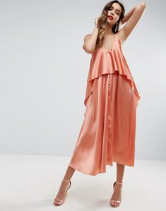 Read more about Asos tiered crop top midi dress - dusty coral