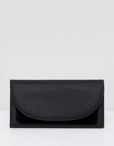 Read more about French connection foldover clutch with suede panel - black