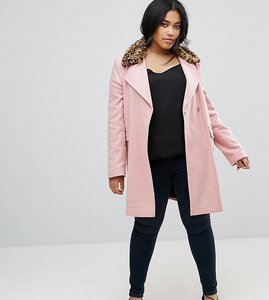 Read more about Asos curve coat with leopard print collar - pink