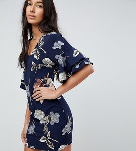 Read more about Parisian tall v neck floral shift dress with flare sleeve - navy