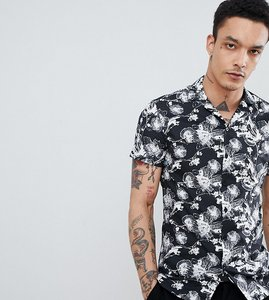 Read more about Noak skinny revere collar shirt in floral - black