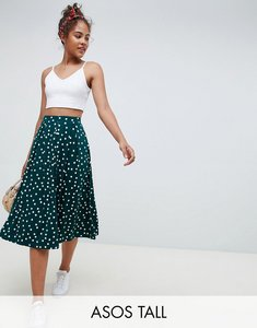 Read more about Asos design tall midi skirt with box pleats in polka dot - forest green white