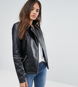 Read more about Asos tall leather look jacket with zip sleeves - black