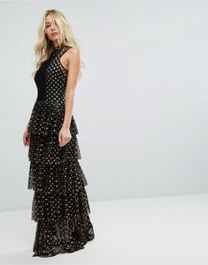 Read more about Bodyfrock tiered polka dot maxi dress - black