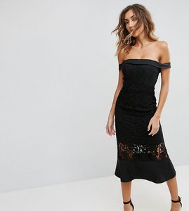 Read more about Jarlo tall off shoulder midi dress with lace cutwork insert - black