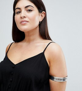 Read more about Asos design curve thick burnished arm cuff - burnished silver