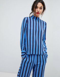 Read more about Y a s high neck striped woven top - multi
