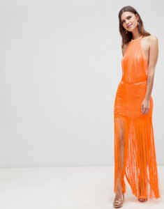 Read more about Asos design dropped waist fringe maxi dress - orange