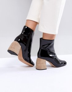 Read more about Asos white shasta premium patent leather heeled boots - black