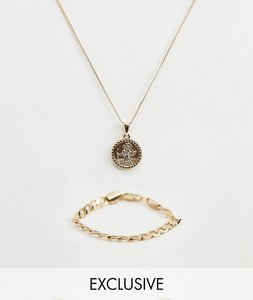 Read more about Chained able st christopher necklace chain bracelet in 2 pack exclusive to asos