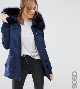 Read more about Asos tall parka with quilted lining and faux fur trim - navy