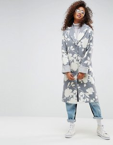 Read more about Asos oversized coat with jaquard print - multi