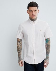 Read more about Farah steen slim fit short sleeve textured oxford shirt in pink - 680 sea shell