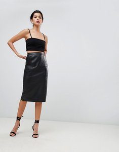 Read more about Asos midi pencil skirt in leather - black