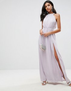 Read more about Asos embellished neck trim drape back maxi dress - lilac