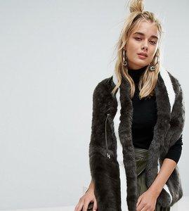 Read more about Urbancode khaki faux fur drawstring scarf - khaki moss white