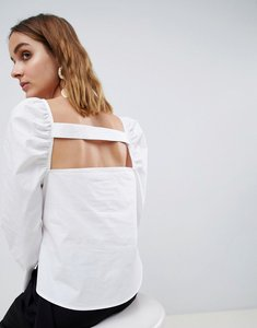 Read more about Asos white cut out top with ruched shoulder detail - white