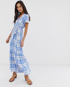 Read more about New look tiered button through midi dress in blue check