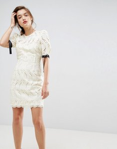 Read more about Asos puff sleeve mini dress in broderie - ivory
