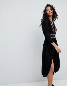 Read more about Free people flora embroidered midi dress - black