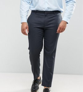 Read more about Asos plus wedding skinny suit trouser in blue micro woven texture - navy