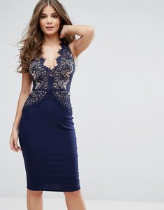 Read more about Rare london plunge scallop lace midi dress - navy