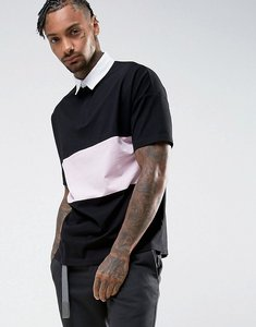 Read more about Asos oversized rugby polo shirt with contrast panel in black - black